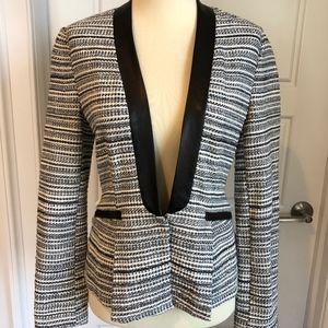 NWT  Rebecca Taylor metallic blazer w leather trim